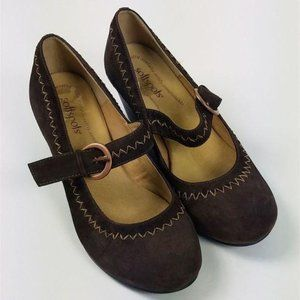 SoftSpots Brown Suede Wedge Mary Jane Shoes